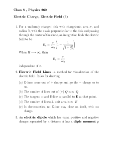 Class 8 , Physics 260 Electric Charge, Electric Field (3) 1. For a