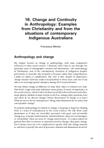 Change and Continuity in Anthropology