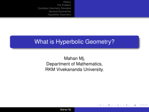 What is Hyperbolic Geometry? - School of Mathematics, TIFR