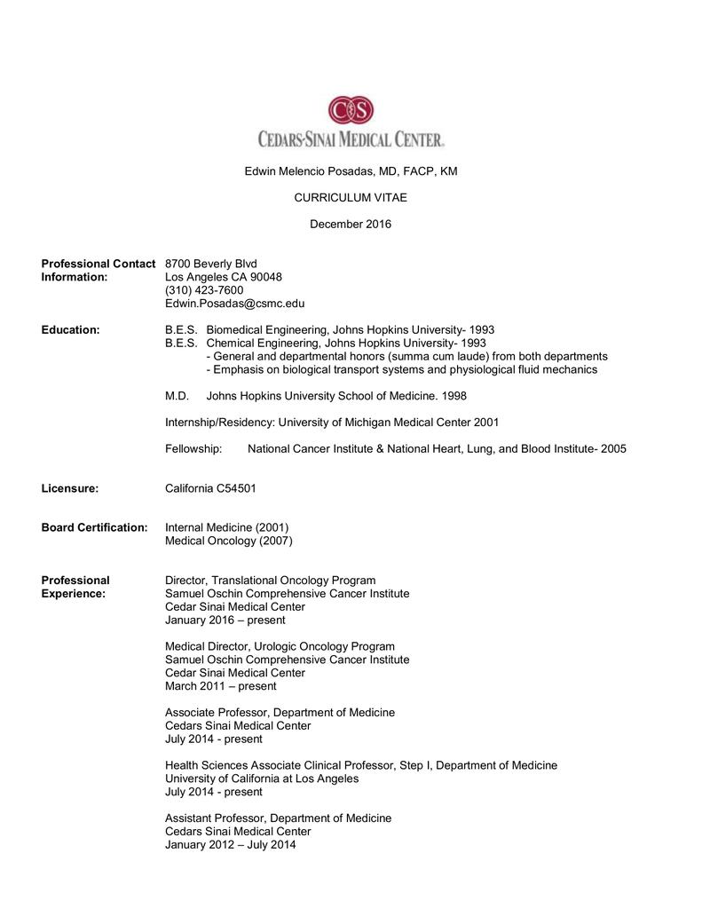View CV as a PDF - Cedars