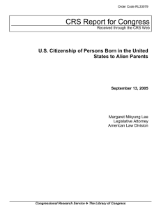 US Citizenship of Persons Born in the United States