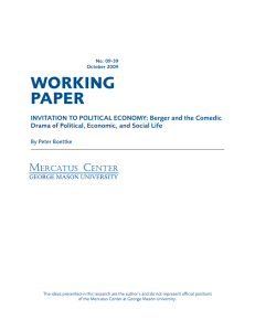 Invitation to Political Economy: Berger and the Comedic Drama of