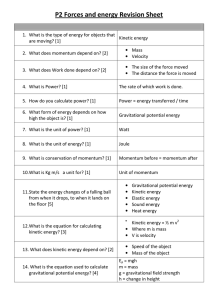 P2 Forces and energy Revision Sheet