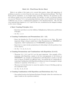 Math 116 - Final Exam Review Sheet