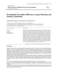 Investigating Personality Differences among Stuttering