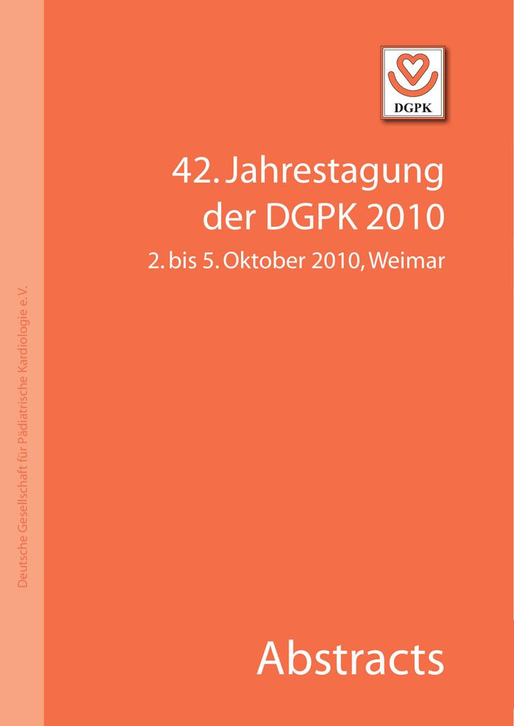 Abstracts - Deutsche Gesellschaft für Pädiatrische Kardiologie