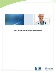 2014 NIA Standard Clinical Guidelines