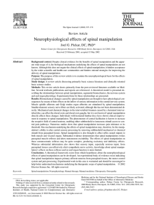 Neurophysiological effects of spinal manipulation