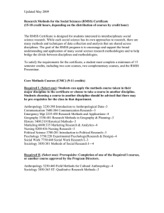 Research Methods for the Social Sciences (RMSS) Certificate