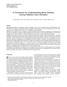 a framework for understanding moral distress among palliative care