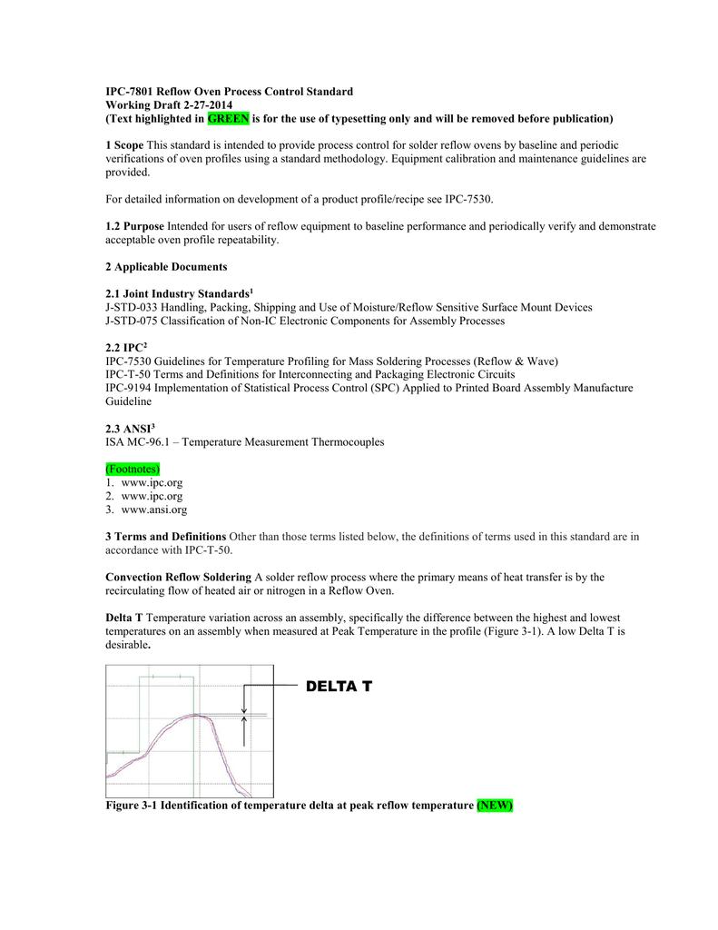 IPC-7801 Reflow Oven Process Control Standard Working Draft 2