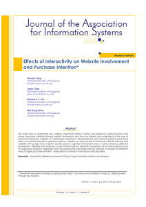 Journal of the Association for Information Effects of Interactivity on