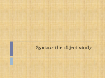 Syntax- the object study
