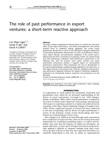 The role of past performance in export ventures: a short