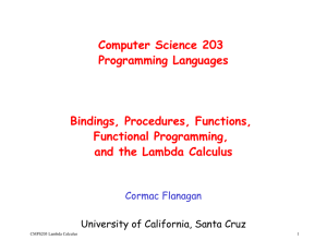 Computer Science 203 Programming Languages Bindings
