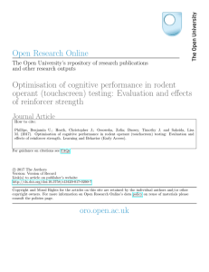 Optimisation of cognitive performance in rodent operant