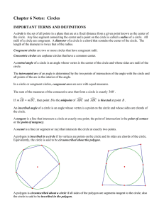 Chapter 6 Notes: Circles