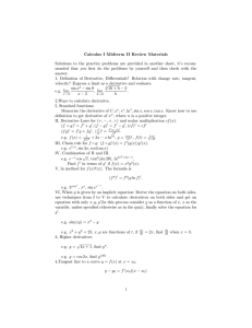 Calculus I Midterm II Review Materials Solutions to the practice