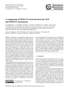 A comparison of OEM CO retrievals from the IASI and MOPITT