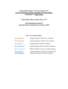 Proposed Revisions to 19 TAC Chapter 113, Texas Essential