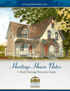 Heritage House Notes and Built Heritage Research Guide