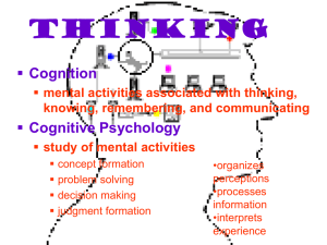 Thinking Cognition mental activities associated with thinking