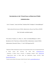Introductory paper on Behavioral Public Administration