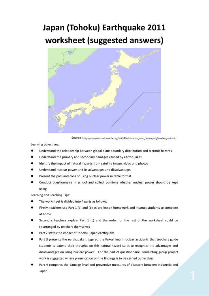 Japan (Tohoku) Earthquake 2011 worksheet (suggested answers