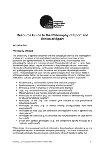 Resource Guide to the Philosophy of Sport and Ethics of Sport