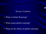 Global Warming. Greenhouse Gases and Climate