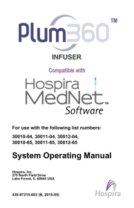 Plum 360™ Infuser compatible with Hospira MedNet™ Software