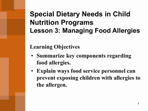Meeting Children`s Special Food and Nutrition - K
