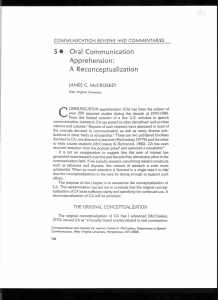 Oral Communication Apprehension: A