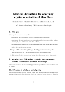 Electron diffraction for analysing crystal orientation of thin films