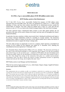 ESTR.ASpA successfully places EUR 100 million senior notes BNP