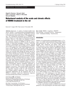 Behavioural analysis of the acute and chronic effects of MDMA