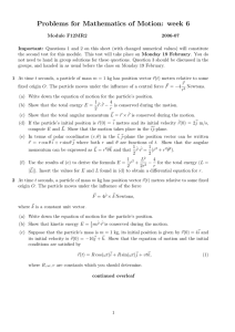 Problems for Mathematics of Motion: week 6