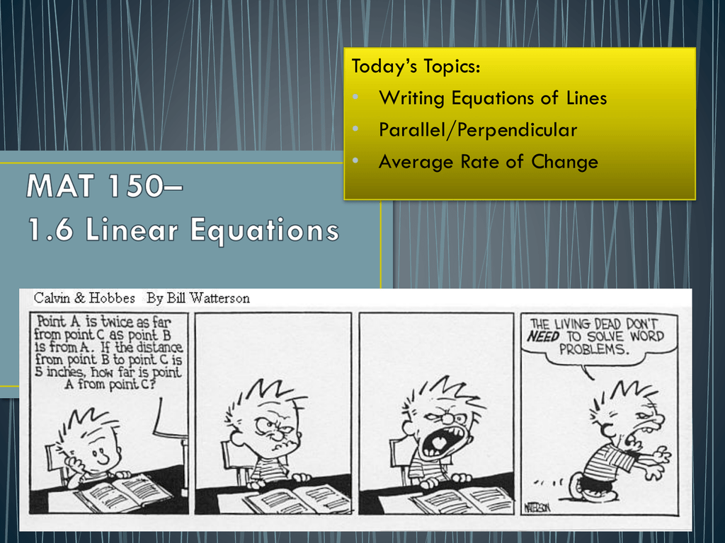 Unit 1-6 Linear Equations