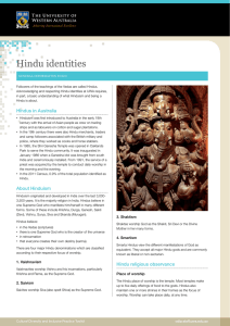 Hindu identities - Education at UWA