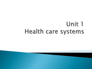 Unit 1 Health care systems