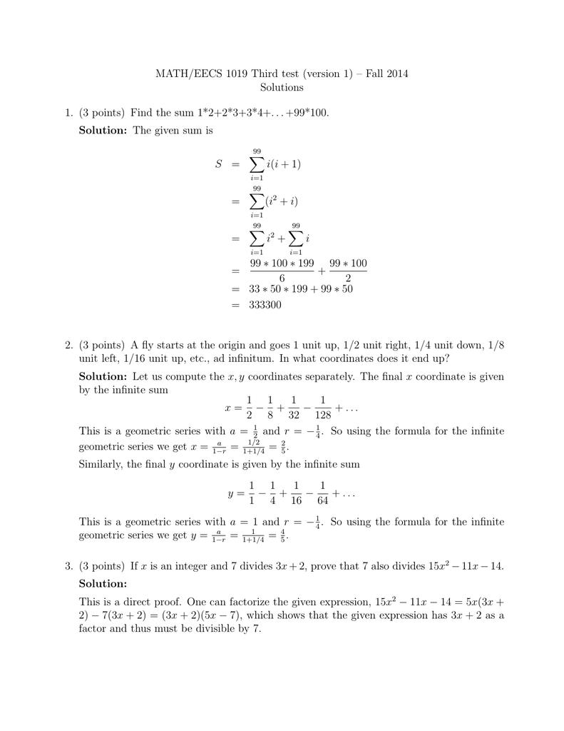 MATH/EECS 1019 Third test (version 1) – Fall 2014 Solutions