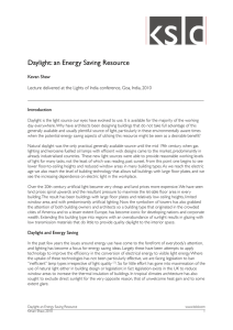 Daylight: an Energy Saving Resource