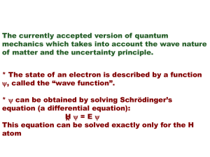 WAVE MECHANICS (Schrödinger, 1926)