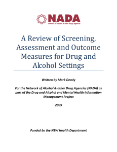A review of screening, assessment and outcome measures for drug