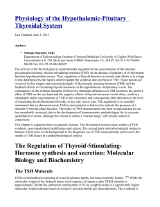 Physiology of the Hypothalamic-Pituitary Thyroidal System The