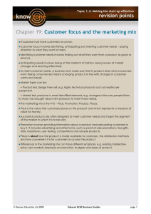 Revision points for customer focus and marketing mix