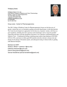 Wolfgang Sadee Group name: Center for Pharmacogenomics The