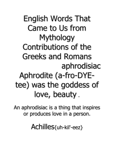 English Words That Came to Us from Mythology Contributions of the