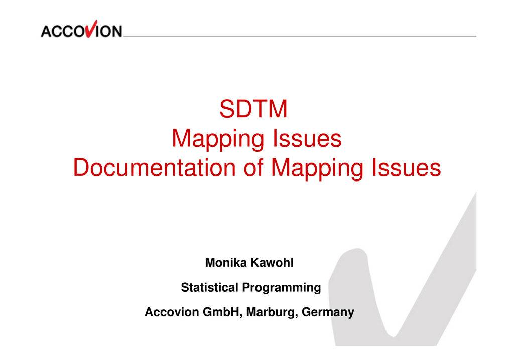 sdtm mapping issues and documentation