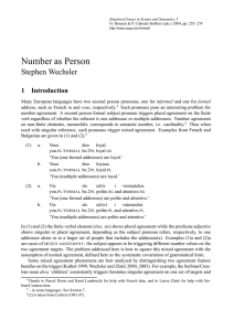 Number as Person - CSSP